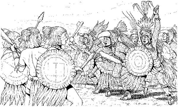 Aztec, : Aztec Warriors in Flower Wars Coloring Pages
