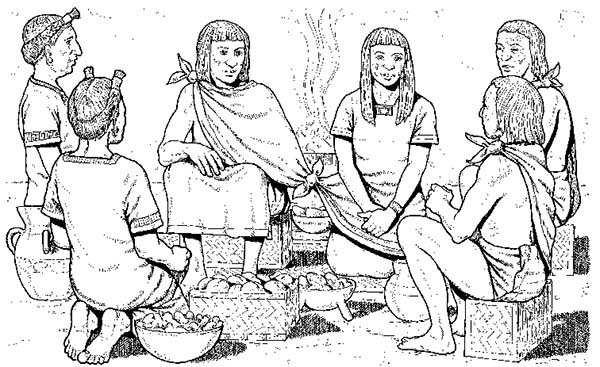 Aztec, : Aztec Wedding Ceremony Coloring Pages