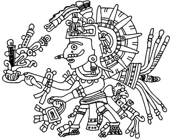 Aztec, : Aztec Xochipilli Coloring Pages
