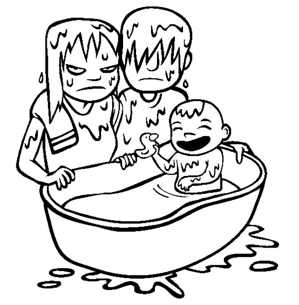 Babies, : Babies Bath Time Coloring Pages