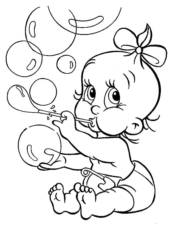 babies make bubbles coloring pages
