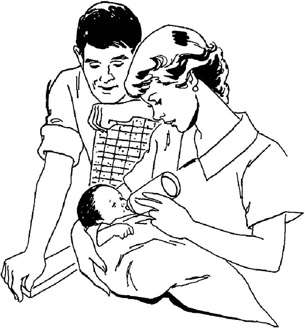 Babies, : Babies Milking by His Mother Coloring Pages