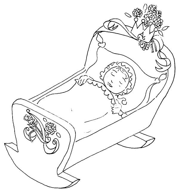 Babies, : Babies Sleeping in Beautiful Manger Coloring Pages