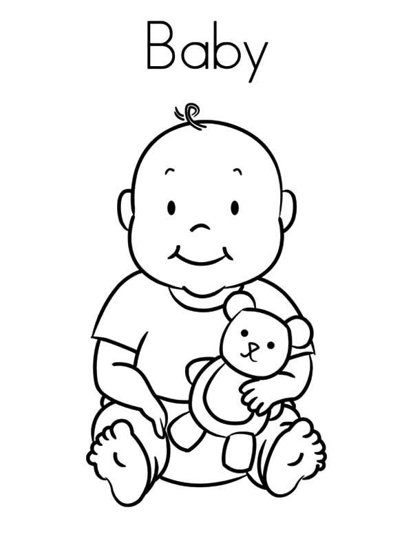 Babies, : Babies and His Teddy Bear Coloring Pages