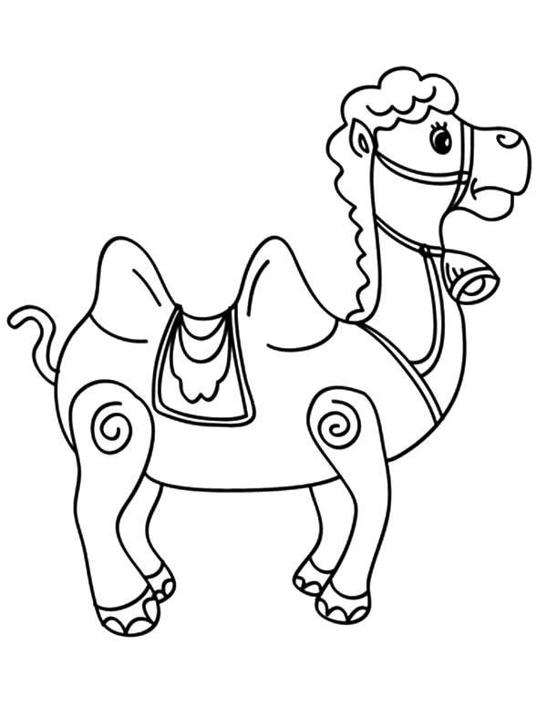 Bactria Camel, : Bactria Camel Carousel Coloring Pages