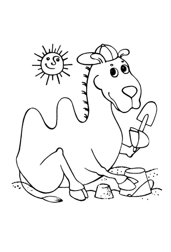 Bactria Camel, : Bactria Camel at the Beach Coloring Pages