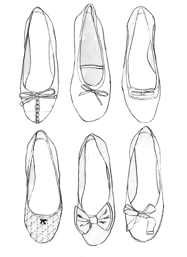 Ballerina Shoes Collection Coloring Pages