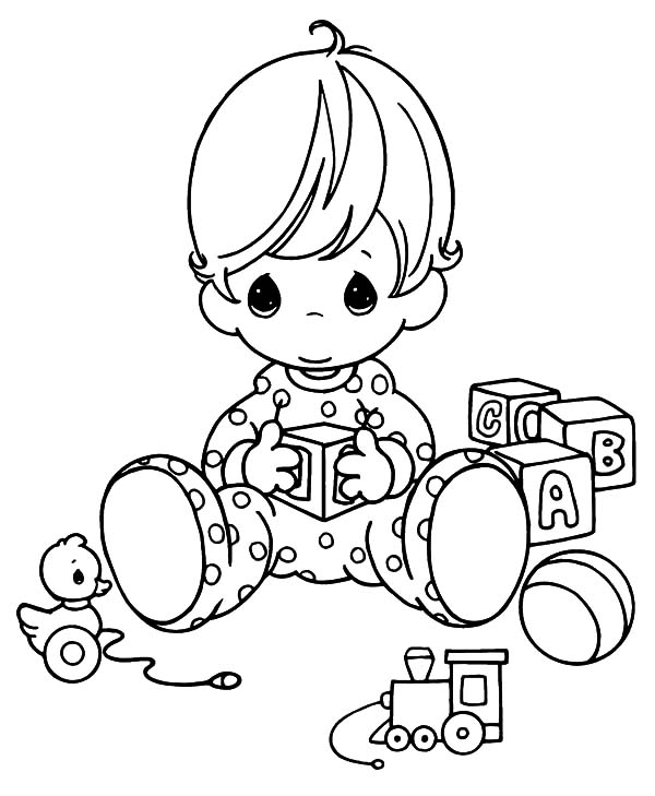 Babies, : Beautiful Babies Playing by Himself Coloring Pages
