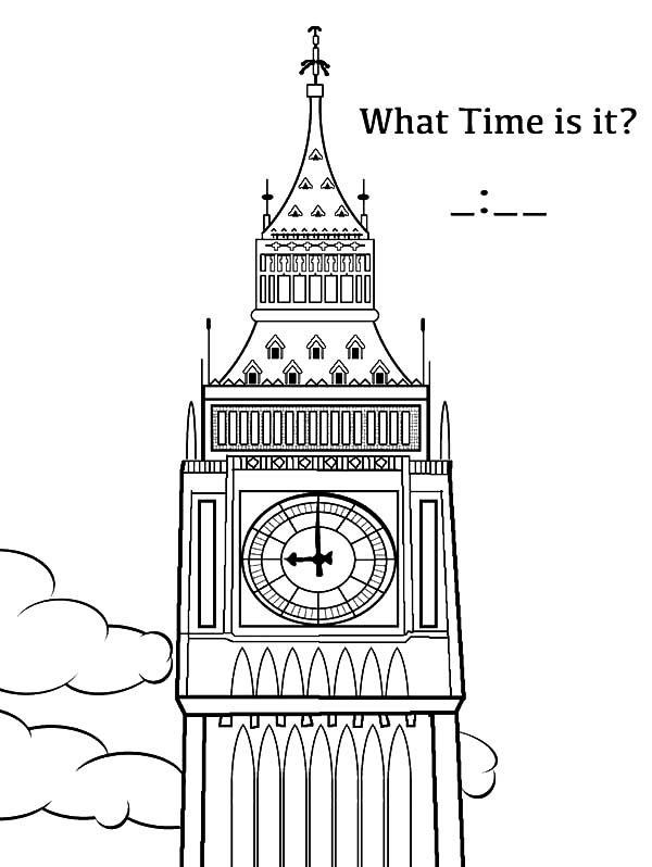 Analog Clock, : Big Ben Analog Clock Coloring Pages