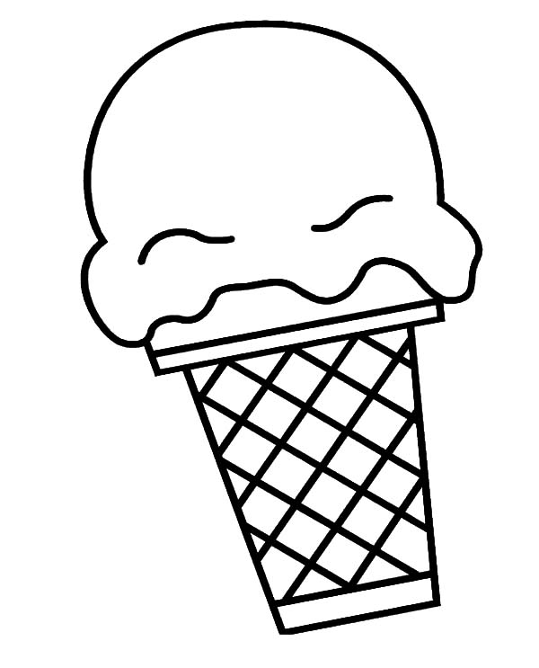 Ice Cream Cone, : Big Scoop of Ice Cream Cone Coloring Pages
