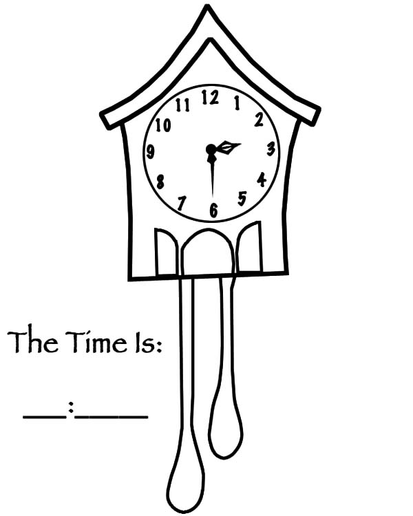 Analog Clock, : Bird House Analog Clock Coloring Pages