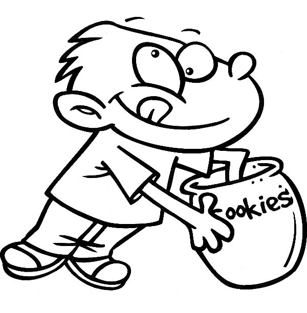 Jar, : Boy Put His Hand in Cookie Jar Coloring Pages
