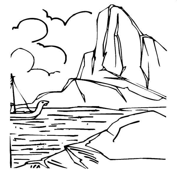 Iceberg, : Brave Sailor Passing Iceberg Coloring Pages