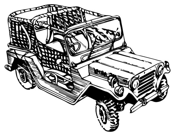 Army Car, : Camouflage Jeep Army Car Coloring Pages