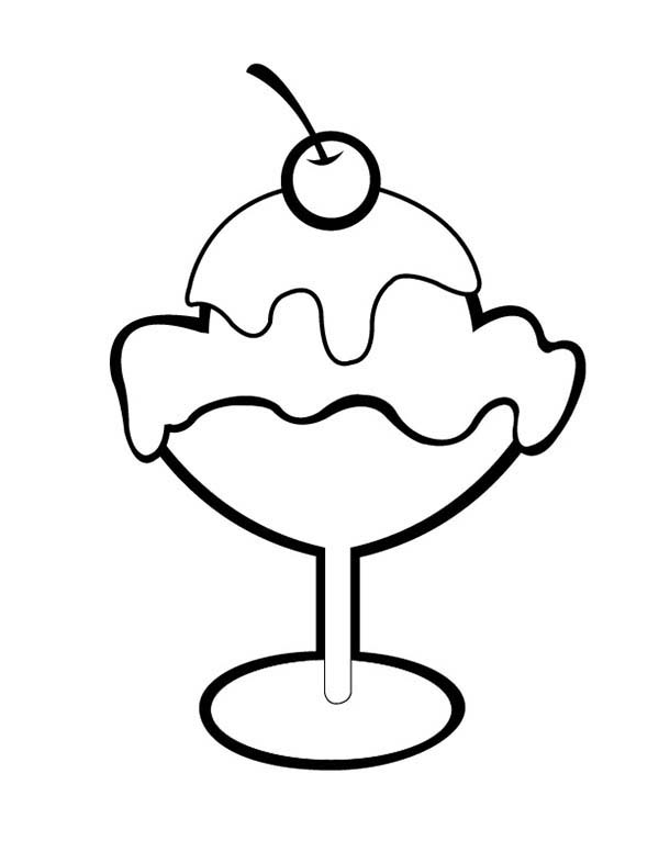 Ice Cream, : Cherry on Top of Ice Cream Coloring Pages