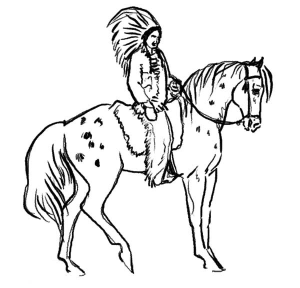 Appalooshorse, : Chief Ride Appalooshorse Coloring Pages