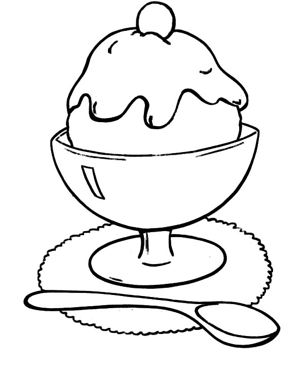 Ice Cream, : Chocolate Flavour Ice Cream Coloring Pages