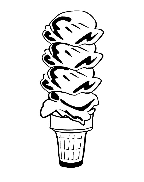 Ice Cream Cone, : Chocolate Ice Cream Cone Coloring Pages