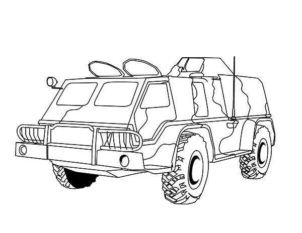 Army Car, : Combat Army Car Coloring Pages