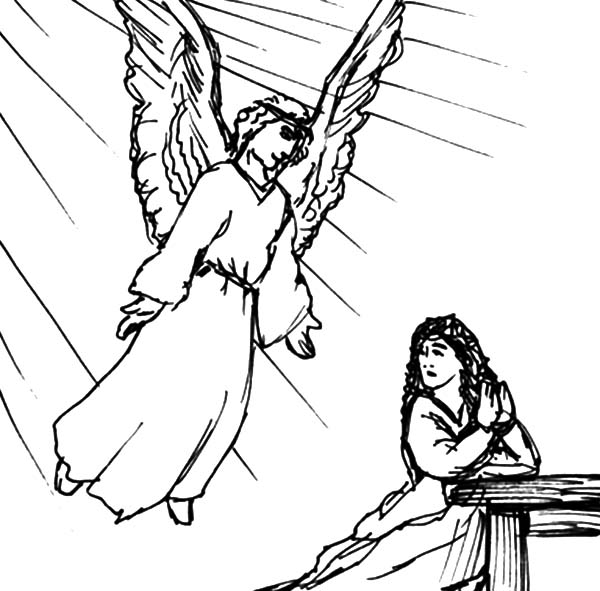 Come Down From Light Angel Appears To Mary Coloring Pages