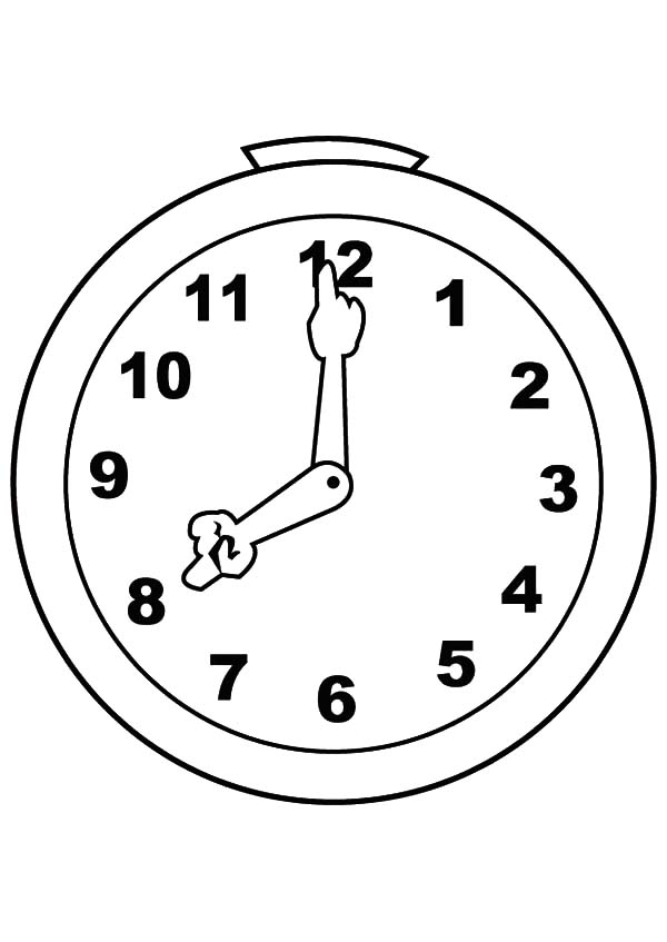 Analog Clock, : Cute and Silly Analog Clock Coloring Pages