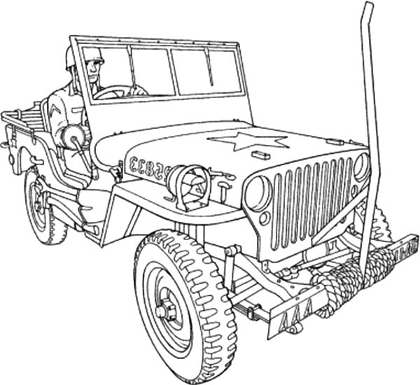 Army Car, : Drawing Army Car Coloring Pages