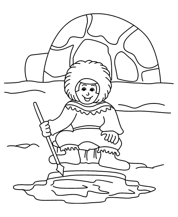 Igloo, : Eskimo Boy try to Cacth Fish Near Igloo Coloring Pages