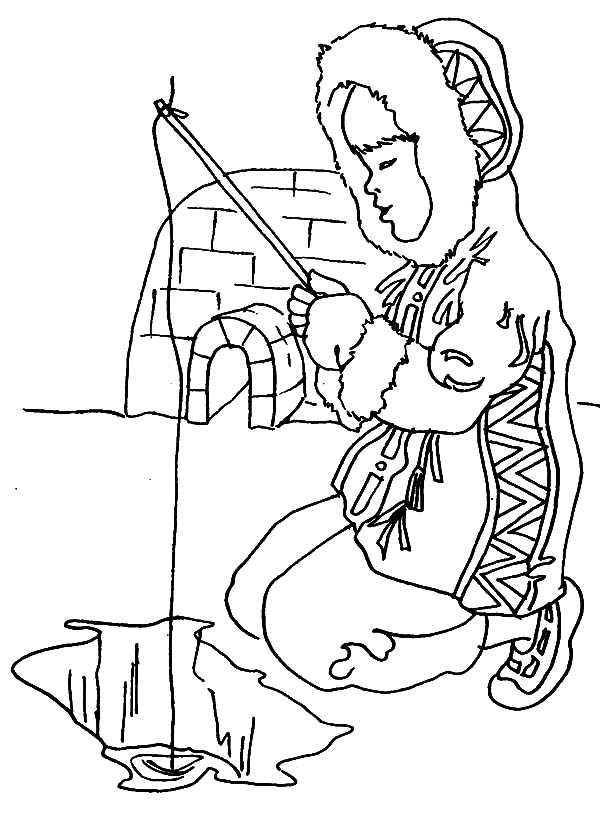 Igloo, : Eskimo Girl Fishing Near Igloo Coloring Pages