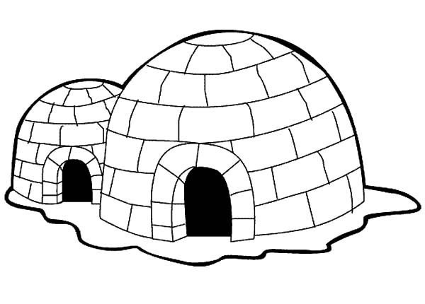 Igloo, : Eskimo House Igloo Coloring Pages