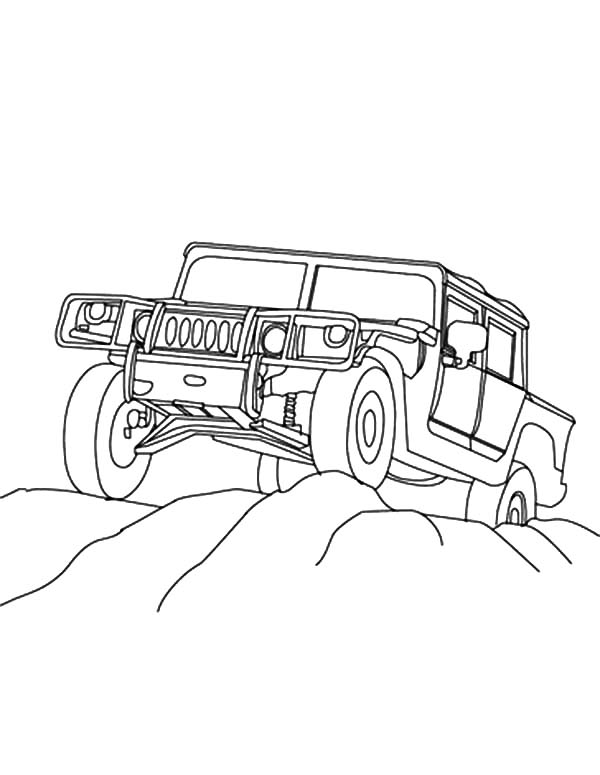 Army Car, : Four Wheel Drive Army Car Coloring Pages
