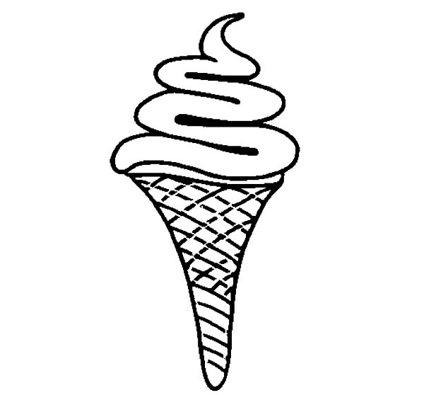 Ice Cream Cone, : Fruits Flavour Ice Cream Cone Coloring Pages