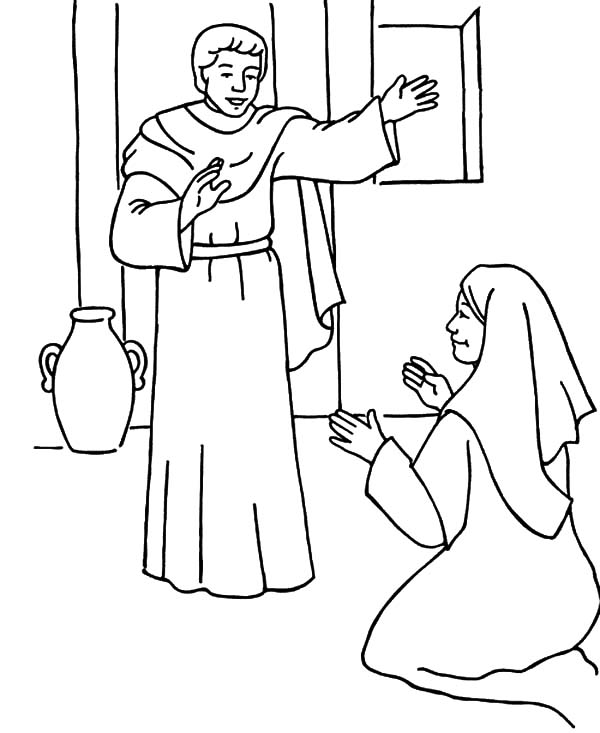Angel Appears To Mary, : Gabriel the Angel Appears to Mary and Give Her the Blessing Coloring Pages