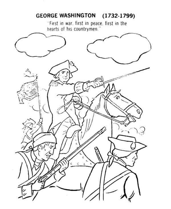 American Revolution Flag, : George Washington Lead American Revolution Flag Coloring Pages