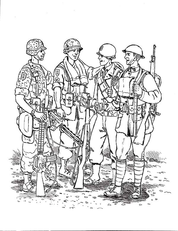 Group of Army Man Coloring Pages | Bulk Color