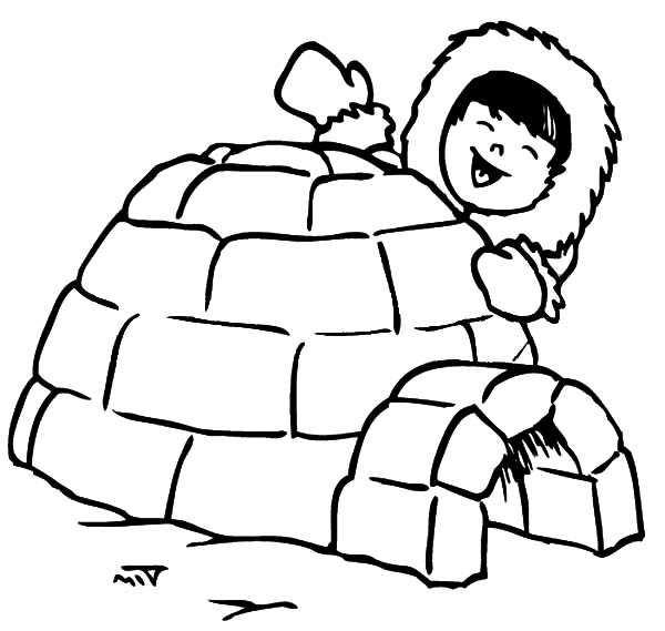 Igloo, : Happy Eskimo Kid and Igloo Coloring Pages