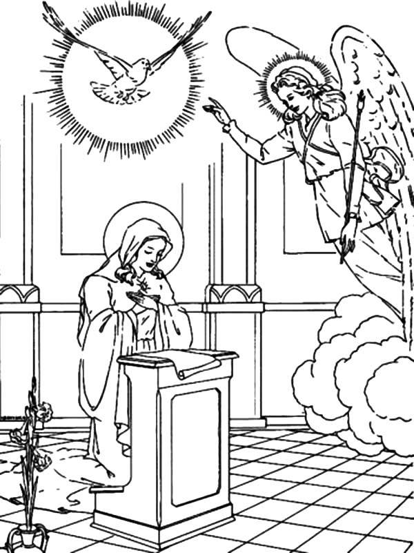 Angel Appears To Mary, : Holy Spirit and Gabriel the Angel Appears to Mary Coloring Pages
