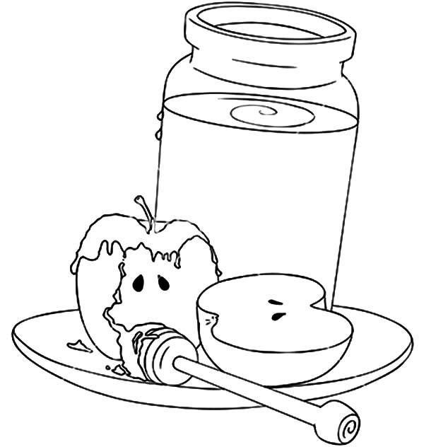 Jar, : Rosh Hashanah Honey Jar and Apples Coloring Page