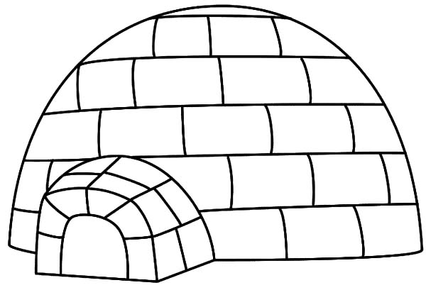 Igloo, : House for Eskimo People Igloo Coloring Pages