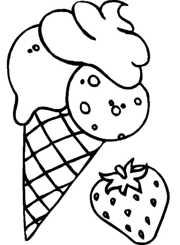 Ice Cream Cone, : Ice Cream Cone Flavoured Strawberry Coloring Pages