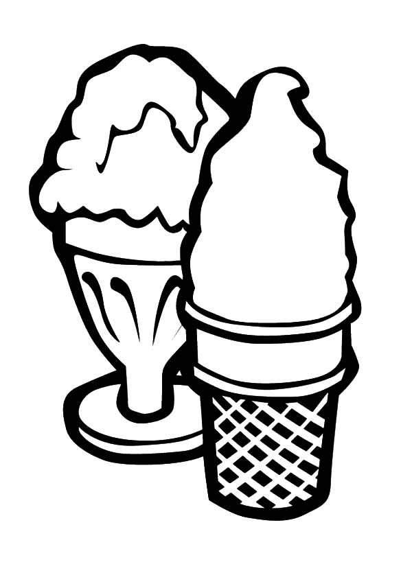 Ice Cream Cone, : Ice Cream Cone and Ice Cream Bowl Coloring Pages