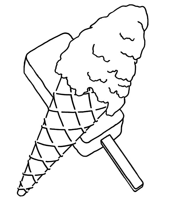 Ice Cream Cone, : Ice Cream Cone and Popsicle Coloring Pages