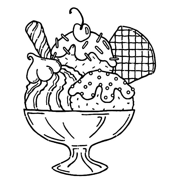 Ice Cream, : Ice Cream Served with Wafer and Whipped Cream Coloring Pages