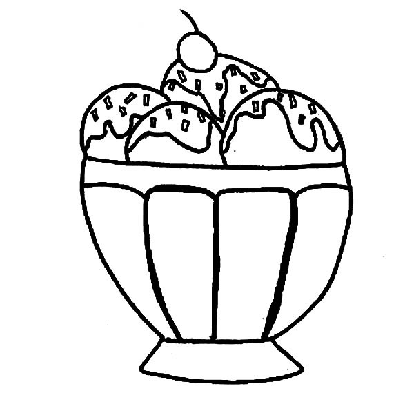 Ice Cream, : Ice Cream Sundae coloring page
