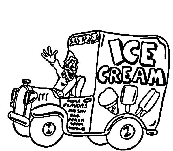 Ice Cream, : Ice Cream Truck Coloring Pages