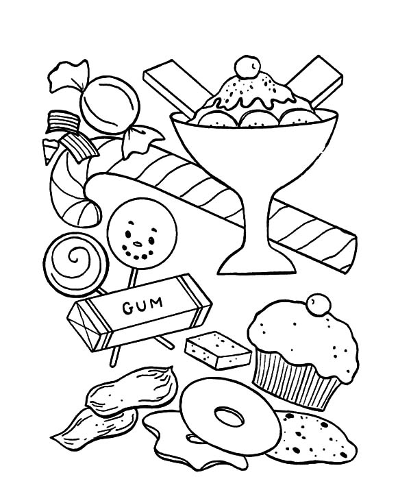 Ice Cream, : Ice Cream and Other Sweet Coloring Pages
