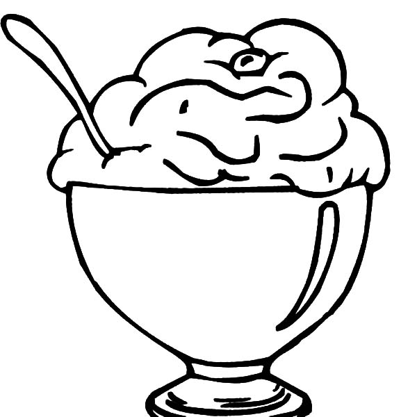 Ice Cream, : Ice Cream for Dessert Coloring Pages