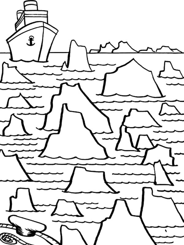 Iceberg, : Iceberg Maze for Big Ship Coloring Pages