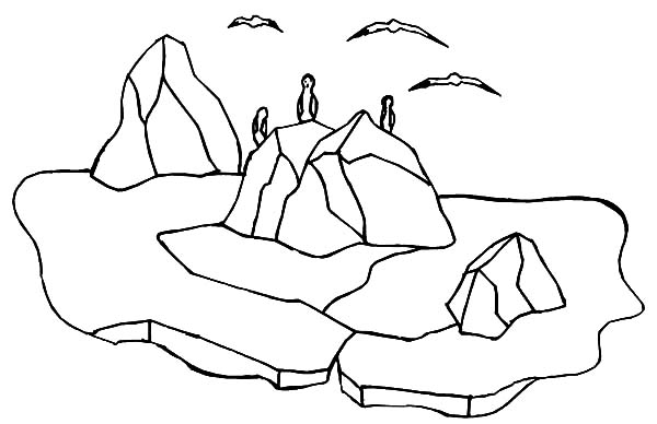 Iceberg, : Iceberg is Habitat for Penguin and Seagulls Coloring Pages