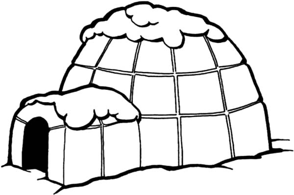 Igloo, : Igloo Covered with Snow Coloring Pages