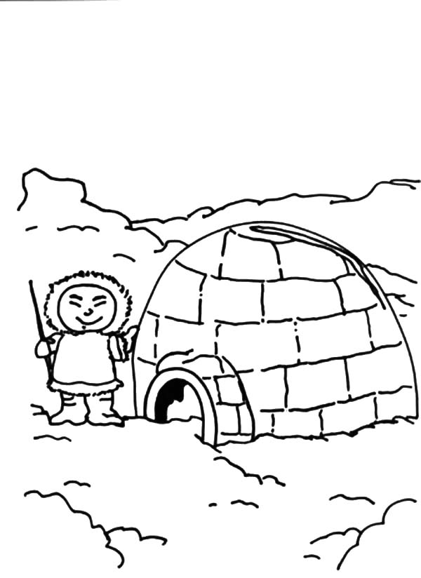 Igloo, : Igloo and Eskimo Boy Coloring Pages